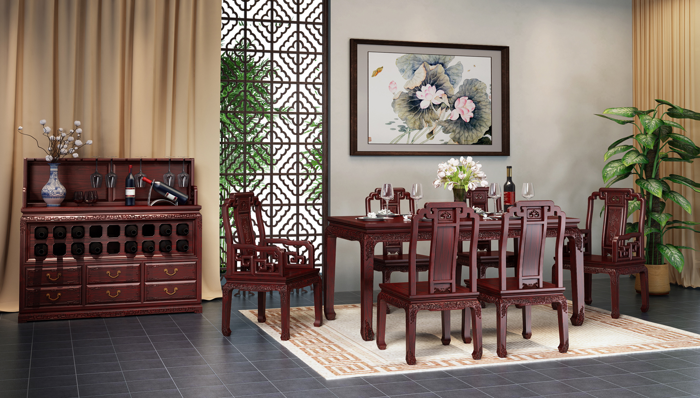 紅木家具與窗簾顏色搭配效果圖