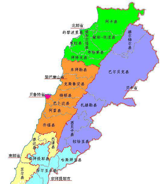黎巴嫩行政区划